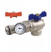 Кран шаровой угловой коллекторный с термометром EUROS 1 1/4