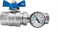 Кран шаровой прямой коллекторный с термометром EUROS 1