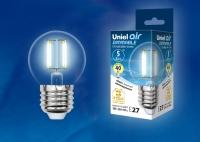 Лампа светодиодная эквивалент 40 Вт LED-G45-5W/NW/E27/CL/DIM GLA01TR диммируемая 4000