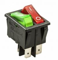 Выключатель клавишный 250V 15А (6с) ON-OFF красный/зел с инд в Орехово-Зуево СтройДвор на Карболите