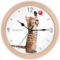 Часы настенные Energy EC-113 Кот 25 х3,8 см круглые, плавный ход в Орехово-Зуево СтройДвор на Карболите