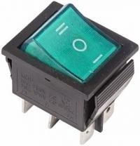 Выключатель клавишный 250V 15A ON-OFF-ON (6с) зеленый с подсветкой RWB-509 в Орехово-Зуево СтройДвор на Карболите