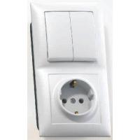 Блок розетка - выключатель (1роз+2кл. выкл.) СУ белый земля, АБС-пластик БКВР-412 в Орехово-Зуево СтройДвор на Карболите
