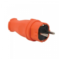 Вилка прямая каучук 2Р+Е 1х16 220-240V оранж. IP44 в Орехово-Зуево СтройДвор на Карболите