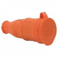 Штепсель (разъем) с загл. каучук 2P+E 1x16 220-240V оранж. IP44 31-01-304-2300 в Орехово-Зуево СтройДвор на Карболите