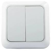 Jilion Выключатель электрический двухклавишный О/У Белый в Орехово-Зуево СтройДвор на Карболите