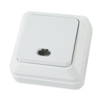 Jilion Выключатель света 1-кл с подсветкой О/У Белый в Орехово-Зуево СтройДвор на Карболите