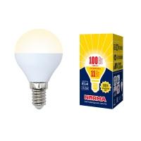 Лампа светодиодная Volpe LED-G45-11W/WW/E14/FR/NR шар матовая 3000K в Орехово-Зуево СтройДвор на Карболите