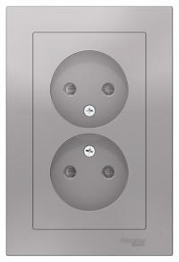 Розетка Schneider Electric двойная без заземления, со шторками, 16А, в сборе, алюминий (ATN000322) в Орехово-Зуево СтройДвор на Карболите
