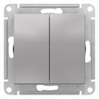 Выключатель двухклавишный Schneider Electric схема 5 10АХ цвет алюминий в Орехово-Зуево СтройДвор на Карболите