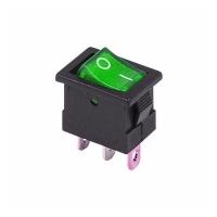 Выключатель клавишный 250V 15A ON-OFF (3с) зеленый с подсв. в Орехово-Зуево СтройДвор на Карболите