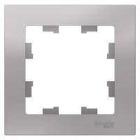 Рамка однопостовая для выключателей Шнайдер алюминий (ATN000301) в Орехово-Зуево СтройДвор на Карболите