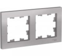 Рамка двухпостовая Schneider Electric универсальная алюминий (ATN000302) в Орехово-Зуево СтройДвор на Карболите