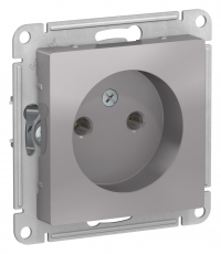 Розетка Schneider Electric ATLASDESIGN без заземления 16А цвет алюминий (ATN000341) в Орехово-Зуево СтройДвор на Карболите