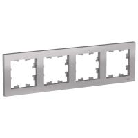Рамка четырехпостовая Schneider универсальная цвет алюминий в Орехово-Зуево СтройДвор на Карболите