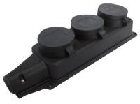 Водонепроницаемая колодка тройная с заглушкой из каучука 2P+E 1x16 220-240V черный IP44 в Орехово-Зуево СтройДвор на Карболите