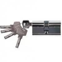 Цилиндровый механизм дверного замка 45 х 45 Хром ключ-ключ в Орехово-Зуево СтройДвор на Карболите