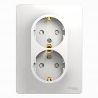 Розетка электрическая 2х2Р+Е в сборе GSL000124 Белый в Орехово-Зуево СтройДвор на Карболите