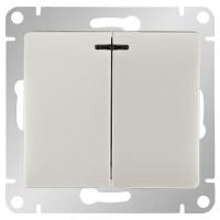 Выключатель 2-кл с подсветкой  GLOSSA GSL000153, Белый в Орехово-Зуево СтройДвор на Карболите
