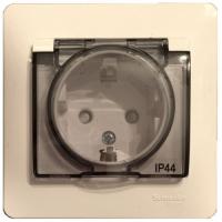 Розетка с заземяющим контактом со шторкой с крышкой, IP44. GLOSSA GSL000248 в Орехово-Зуево СтройДвор на Карболите