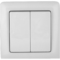 Выключатель электрический двухклавишный С/У Jilion Белый в Орехово-Зуево СтройДвор на Карболите