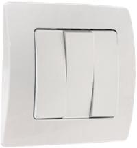 Выключатель 3-кл С/У Jilion Белый в Орехово-Зуево СтройДвор на Карболите
