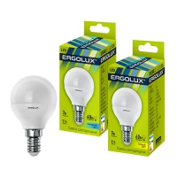 Лампа св/д Ergolux LED G45 9W E14 4000K шар в Орехово-Зуево СтройДвор на Карболите