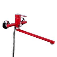 Смеситель для ванны, поворотный излив 35см Красный/хром F2243 в Орехово-Зуево СтройДвор на Карболите