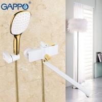 Смеситель для ванны ретро с длинным изливом Белый/Золото G2280 в Орехово-Зуево СтройДвор на Карболите