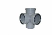 Крестовина для внутренней канализации под резиновые кольца 110 х 110 х 110 х 90* двухплоскостная серая в Орехово-Зуево СтройДвор на Карболите