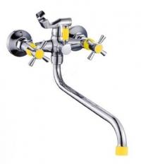 E22118-9 Смеситель с круглым изливом и переключателем для душа, с цветными ручками (жёлтый) в Орехово-Зуево СтройДвор на Карболите